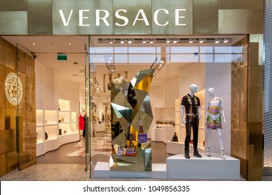 Toronto, Canada - February 23, 2018: Versace store front in the mall in Toronto. Versace (Gianni Versace S.p.A.) is an Italian luxury fashion company.