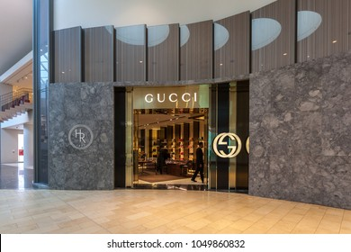 Toronto, Canada - February 23, 2018: Gucci store front in the mall in Toronto. Gucci is an Italian luxury brand of fashion and leather goods.