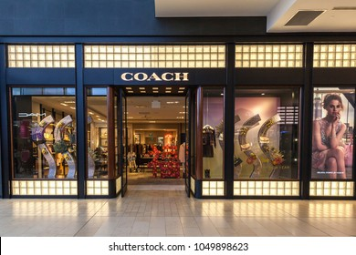 Toronto, Canada - February 23, 2018: Coach storefront in the shopping mall in Toronto. Coach is a leading design house of modern luxury accessories and lifestyle collections.