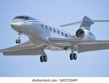 TORONTO, CANADA - FEBRUARY 23, 2020: Gulfstream G600 arriving into Pearson from Teterboro.