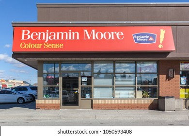 Toronto, Canada - February 26, 2018: Benjamin Moore storefront in Toronto. Benjamin Moore is an American company that produces paint.