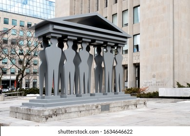 Toronto, Canada, February 3, 2020; Statue at the entrance to the Ontario Superior Court of Justice Courthouse 361 University in Toronto