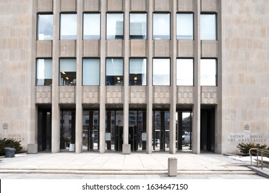 Toronto, Canada, February 3, 2020; The entrance to the Ontario Superior Court of Justice Courthouse 361 University Avenue in Toronto