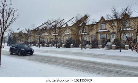 TORONTO, CANADA - FEBRUARY 7, 2018: Adverse weather conditions in a suburban area in Toronto, Canada.