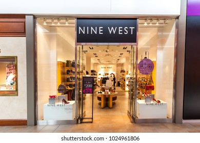 Toronto, Canada - February 7, 2018: Nine West storefront in the Fairview Mall in Toronto. Nine West is an American fashion wholesale and retail company.