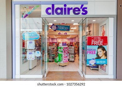 Toronto, Canada - February 7, 2018:  Claire's storefront in Fairview Mall in Toronto. Claire's is an American retailer of accessories and jewelry primarily aimed toward girls and young women.