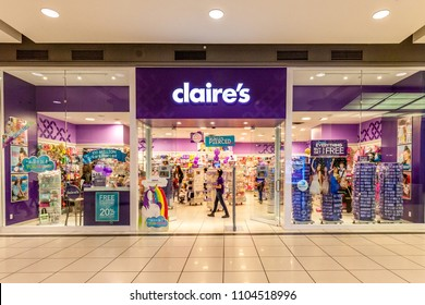 Toronto, Canada - February 7, 2018:  Claire's storefront in the Eaton Centre shopping mall in Toronto. Claire's is an American retailer of accessories and jewelry.