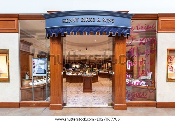 Toronto, Canada - February 7, 2018: Henry Birks and Sons storefront in the Fairview Mall in Toronto, a chain of high-end Canadian jewellery stores.
