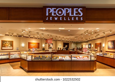 Toronto, Canada - February 7th, 2018: Peoples Jewellers store front in the Fairview Mall in Toronto, the largest retailer of fine jewellery in Canada.