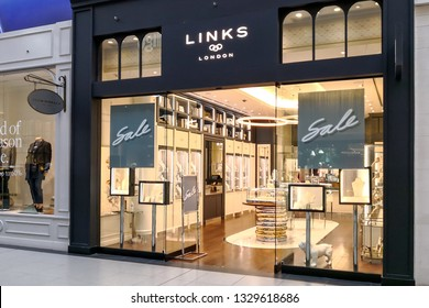Toronto, Canada - January 04, 2019: Links of London in the Eaton Centre Mall in Toronto, Canada. Links of London is a British brand owned by Greek jewellery company.