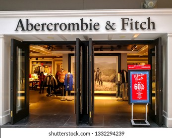 Toronto, Canada - January 04, 2019: The storefront of the Abercrombie & Fitch  store in the Eaton Centre Mall in Toronto, Canada, an American lifestyle retailer that focuses on upscale casual wear.