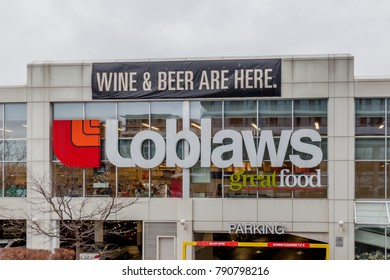 TORONTO, CANADA - JANUARY 09, 2018:   Loblaws store sign. Loblaw is offering customers a $25 gift card after admitting the company participated in an industry-wide bread price-fixing arrangement.