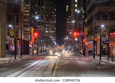 Toronto, Canada - January 18, 2018: Night view of the street of Toronto Downtown in winter