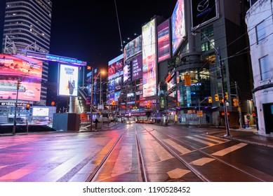 Toronto, Canada, January 18, 2018: Night view of the Yonge-Dundas Square, also known as Times Square of Toronto