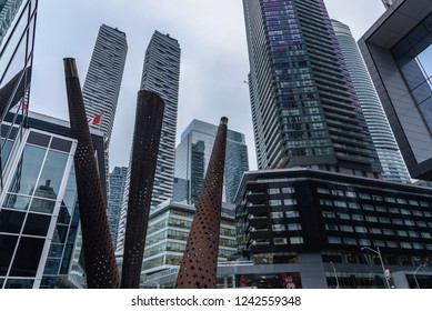 Toronto, Canada - January 18, 2018 - View of the modern architecture of Toronto from a street of the city center.