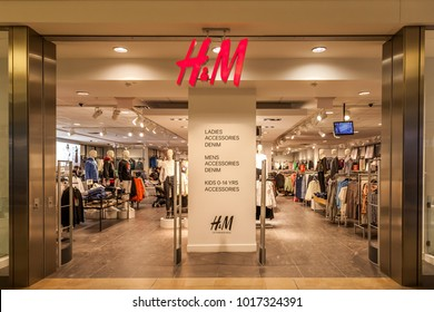 TORONTO, CANADA - JANUARY 19, 2018: H&M store front in the Fairview Mall in Toronto. H&M is a Swedish multinational clothing-retail company.