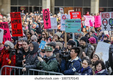TORONTO, CANADA - JANUARY 20, 2018: PROTESTERS AT WOMEN'S MARCH ON TORONTO: DEFINING OUR FUTURE,