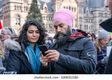 TORONTO, CANADA - JANUARY 20, 2018: FEDERAL NDP LEADER JAGMEET SINGH AT WOMEN'S MARCH ON TORONTO: DEFINING OUR FUTURE.