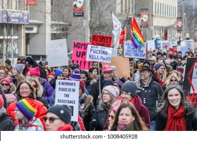TORONTO, CANADA - JANUARY 20, 2018: PROTESTERS AT WOMEN'S MARCH ON TORONTO: DEFINING OUR FUTURE.