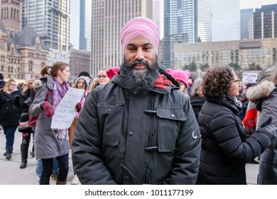 TORONTO, CANADA - JANUARY 20, 2018:NDP LEADER JAGMEET SINGH AT AT WOMEN'S MARCH ON TORONTO: DEFINING OUR FUTURE.