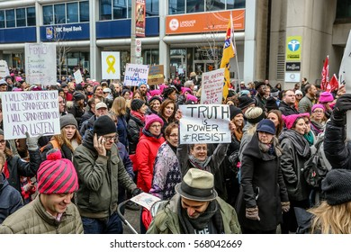 TORONTO, CANADA - JANUARY 21, 2017: Toronto Women's March. A protest march in Toronto in solidarity with the women's march in Washington DC.