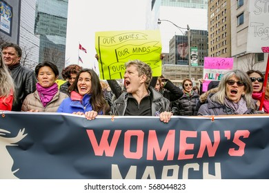 TORONTO, CANADA - January 21st, 2017: Toronto Women's March. A protest march in Toronto in solidarity with the women's march in Washington DC.