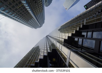 Toronto, Canada - January 27, 2016: Skyscrapers in Downtown Toronto, Financial district. The Financial District is a business district in Toronto, Ontario, Canada, within the downtown core.
