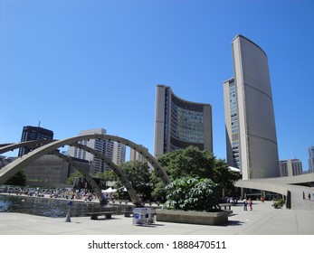 TORONTO, CANADA - Jul 25, 2010: The Toronto City Hall is an impressive eyecatcher in the center of the city