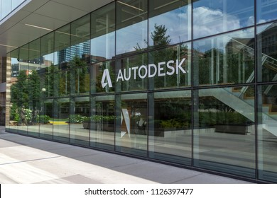 Toronto, Canada - July 02, 2018: Autodesk Canada office in Toronto, an American  software corporation makes software for the architecture, engineering, construction, manufacturing, etc.