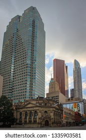 TORONTO, CANADA - JULY 02, 2018:  Facades of  the Hockey Hall of Fame , Brookfield Place , Scotia Bank building and other skyscrapers in the Financial District of Downtown Toronto
