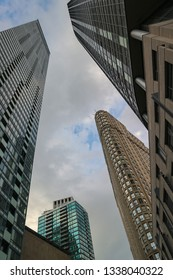 TORONTO, CANADA - JULY 02, 2018: Skyscrapers in the Financial district of Downtown Toronto from below