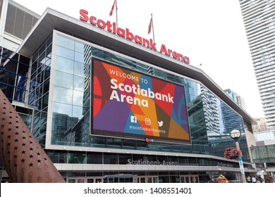 Toronto, Canada - July 02, 2018: Sign of Scotiabank Arena in Toronto. The Scotiabank Arena, former Air Canada Centre renamed on July 1, 2018, is a multi-purpose indoor sporting arena in Toronto.