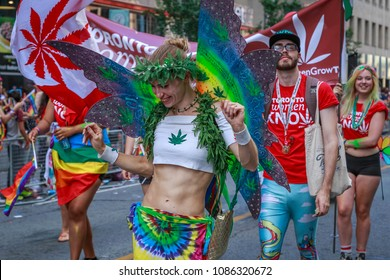 TORONTO, CANADA -  JULY 03, 2016: Toronto Pride 2016 . Participants  from Queens of Cannabis - Toronto All Female LGBTQ marching