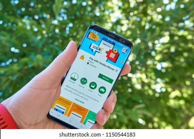TORONTO, CANADA - JULY 15, 2018: Yandex Money mobile app on Samsung s8. Yandex N.V. is a russian multinational corporation specializing in Internet-related services and products.