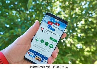 TORONTO, CANADA - JULY 15, 2018: Yandex Browser mobile app on Samsung s8. Yandex N.V. is a russian multinational corporation specializing in Internet-related services and products.
