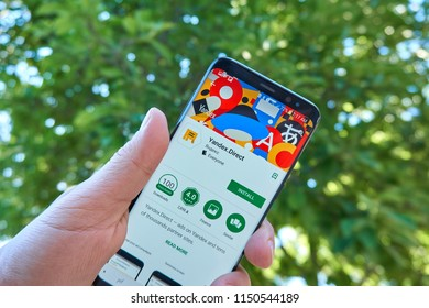 TORONTO, CANADA - JULY 15, 2018: Yandex Direct mobile app on Samsung s8. Yandex N.V. is a russian multinational corporation specializing in Internet-related services and products.