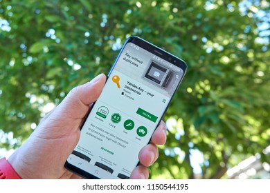 TORONTO, CANADA - JULY 15, 2018: Yandex Key mobile app on Samsung s8. Yandex N.V. is a russian multinational corporation specializing in Internet-related services and products.