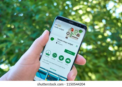 TORONTO, CANADA - JULY 15, 2018: Yandex Maps mobile app on Samsung s8. Yandex Maps is a Russian web mapping service developed by Yandex.