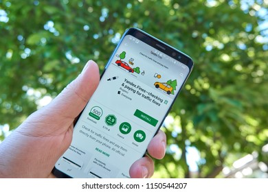 TORONTO, CANADA - JULY 15, 2018: Yandex Fines mobile app on Samsung s8. Yandex N.V. is a russian multinational corporation specializing in Internet-related services and products.