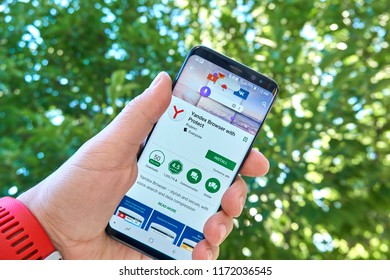 TORONTO, CANADA - JULY 15, 2018: Yandex Browser with protect mobile app on Samsung s8. Yandex N.V. is a russian multinational corporation specializing in Internet-related services and products.