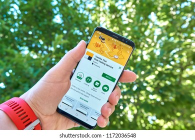 TORONTO, CANADA - JULY 15, 2018: Yandex Taxi mobile app on Samsung s8. Yandex N.V. is a russian multinational corporation specializing in Internet-related services and products.