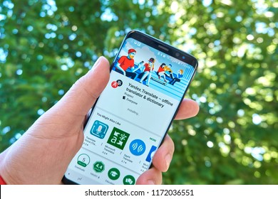 TORONTO, CANADA - JULY 15, 2018: Yandex Translate mobile app on Samsung s8. Yandex N.V. is a russian multinational corporation specializing in Internet-related services and products.