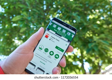 TORONTO, CANADA - JULY 15, 2018: Yandex Trains mobile app on Samsung s8. Yandex N.V. is a russian multinational corporation specializing in Internet-related services and products.