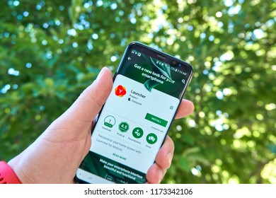 TORONTO, CANADA - JULY 15, 2018: Yandex Launcher mobile app on Samsung s8. Yandex N.V. is a russian multinational corporation specializing in Internet-related services and products.