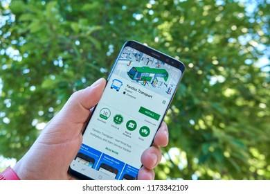TORONTO, CANADA - JULY 15, 2018: Yandex Transport mobile app on Samsung s8. Yandex N.V. is a russian multinational corporation specializing in Internet-related services and products.