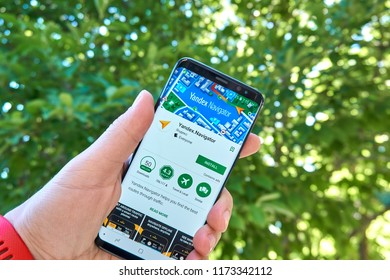 TORONTO, CANADA - JULY 15, 2018: Yandex Navigator mobile app on Samsung s8. Yandex N.V. is a russian multinational corporation specializing in Internet-related services and products.