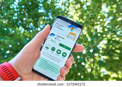 TORONTO, CANADA - JULY 15, 2018: Yandex Disk mobile app on Samsung s8. Yandex N.V. is a russian multinational corporation specializing in Internet-related services and products.