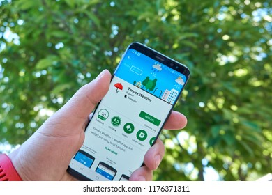 TORONTO, CANADA - JULY 15, 2018: Yandex Weather mobile app on Samsung s8. Yandex N.V. is a russian multinational corporation specializing in Internet-related services and products.