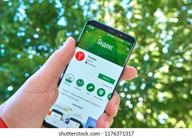 TORONTO, CANADA - JULY 15, 2018: Yandex mobile app on Samsung s8. Yandex N.V. is a russian multinational corporation specializing in Internet-related services and products.