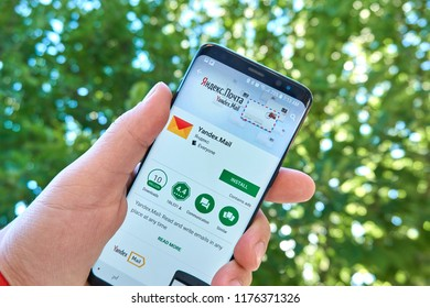 TORONTO, CANADA - JULY 15, 2018: Yandex Mail mobile app on Samsung s8. Yandex N.V. is a russian multinational corporation specializing in Internet-related services and products.